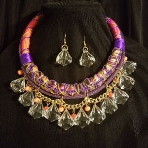 Lucite Charms Rope Collar Necklace Set